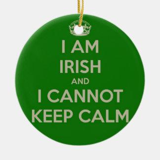 I am Irish and I cannot keep calm funny joke eth Christmas Ornament