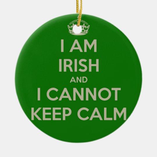 I am Irish and I cannot keep calm funny joke eth Christmas Ornament ...
