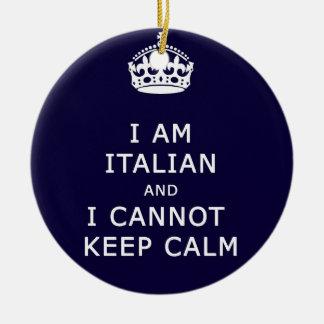 I am Italian and I cannot keep calm funny joke eth Christmas Ornament