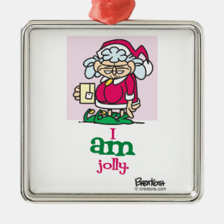 I AM jolly Silver-Colored Square Decoration