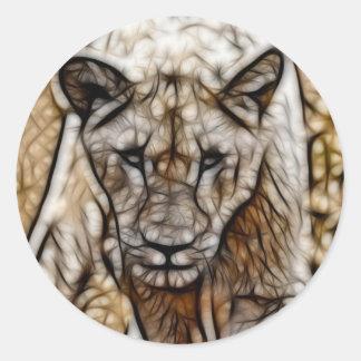 I am lion round stickers