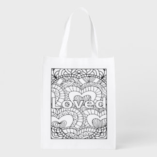 I AM Loved Reusable Bag - Colour your own tote bag