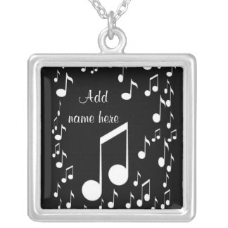 I am music_ silver plated necklace