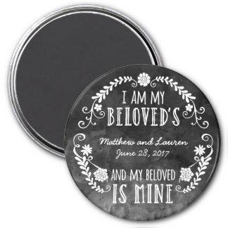 I Am My Beloved's, Wedding Black Watercolor 7.5 Cm Round Magnet