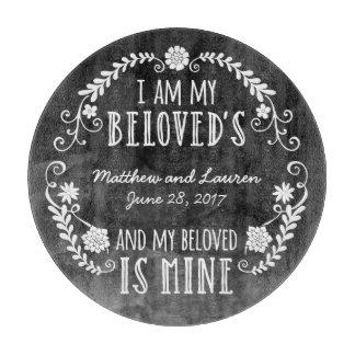 I Am My Beloved's, Wedding Black Watercolor Cutting Board