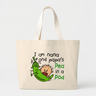I Am Nana And Papa's Pea In A Pod Jumbo Tote Bag