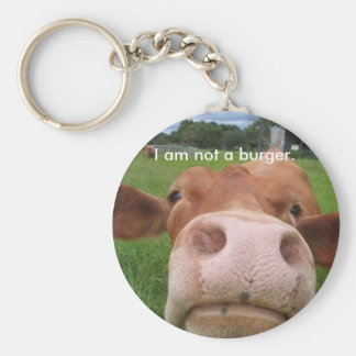 I am not a burger. basic round button key ring