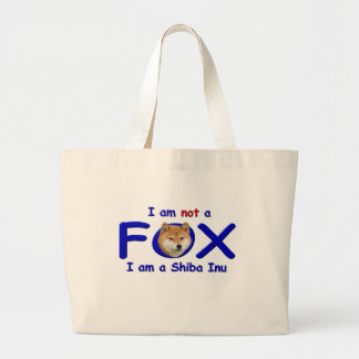 I am Not a Fox I am a Shiba Inu Large Tote Bag