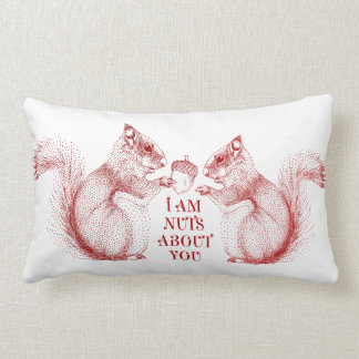 I am nuts about you, squirrels in love lumbar cushion