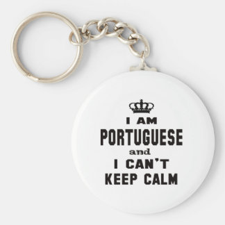 I am Portuguese and i can't keep calm Basic Round Button Key Ring