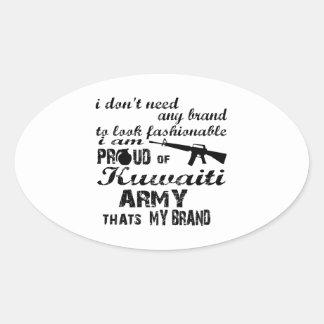 I am proud of Kuwaiti army Oval Sticker
