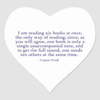 I Am Reading Six Books At Once Heart Sticker