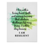 I AM RESILIENT LOVING HEART POSTER