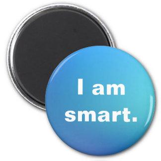I am Smart Affirmation Inspiration Watercolor 6 Cm Round Magnet