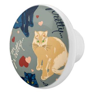 I am so pretty cat! ceramic knob