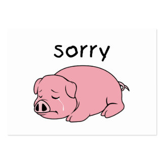 I am so Sorry Crying Weeping Pink Pig Stamp Cards Pack Of Chubby Business Cards