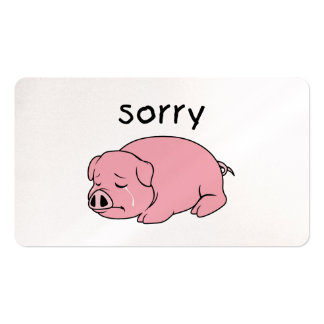 I am so Sorry Crying Weeping Pink Pig Stamp Cards Business Card Templates