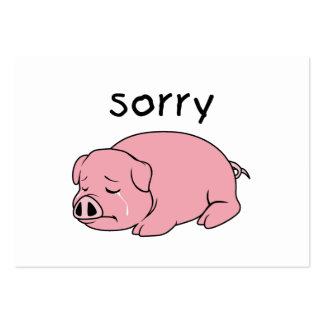 I am so Sorry Crying Weeping Pink Pig Stamp Cards Business Card