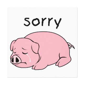 I am so Sorry Crying Weeping Pink Pig Stamp Cards Canvas Print