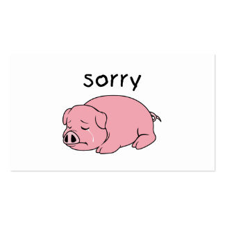 I am so Sorry Crying Weeping Pink Pig Stamp Cards Pack Of Standard Business Cards