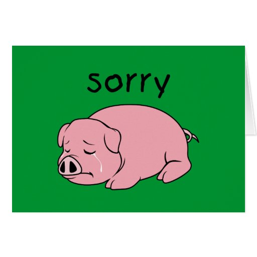 I am Sorry Crying Weeping Pink Pig Card Mug Button