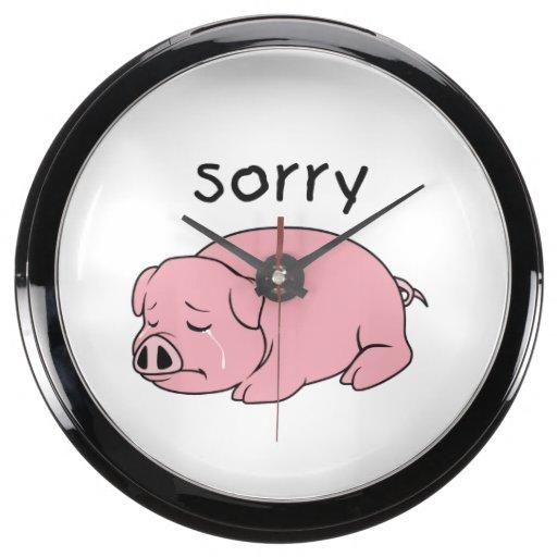 I am Sorry Crying Weeping Pink Pig Card Mug Button Fish Tank Clock