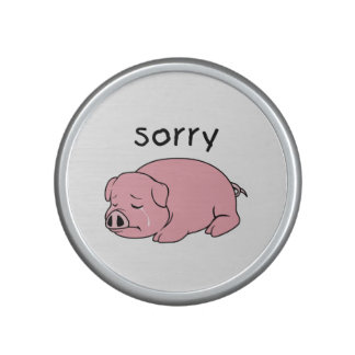 I am Sorry Crying Weeping Pink Pig Card Mug Button Speaker