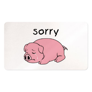 I am Sorry Crying Weeping Pink Pig Card Mug Button Business Cards