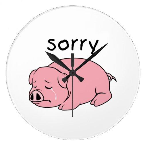 I am Sorry Crying Weeping Pink Pig Card Mug Button Wall Clocks