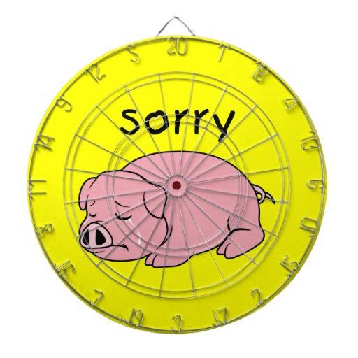 I am Sorry Crying Weeping Pink Pig Card Mug Button Dart Board