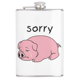 I am Sorry Crying Weeping Pink Pig Card Mug Button Hip Flasks