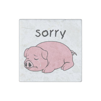 I am Sorry Crying Weeping Pink Pig Card Mug Button Stone Magnet