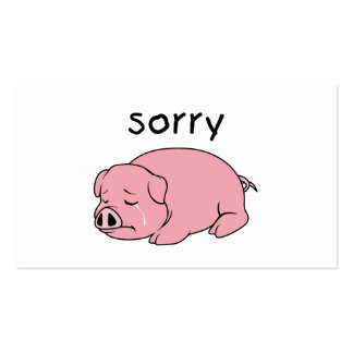 I am Sorry Crying Weeping Pink Pig Card Mug Button Pack Of Standard Business Cards