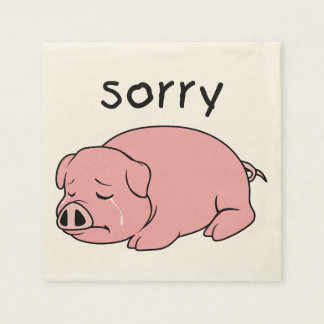 I am Sorry Crying Weeping Pink Pig Card Mug Button Paper Napkin
