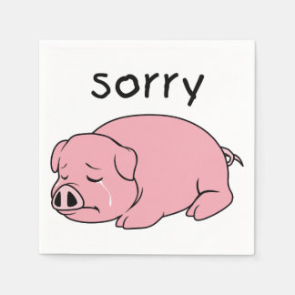 I am Sorry Crying Weeping Pink Pig Card Mug Button Disposable Napkins