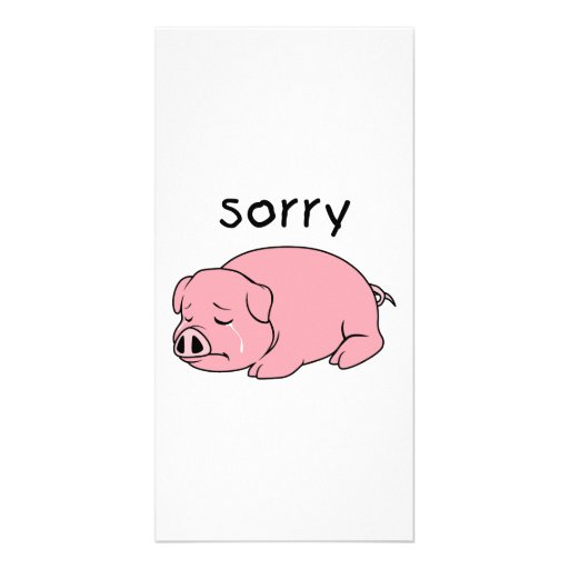 I am Sorry Crying Weeping Pink Pig Card Mug Button Personalized Photo Card