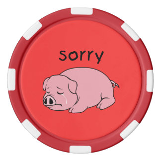 I am Sorry Crying Weeping Pink Pig Card Mug Button Set Of Poker Chips