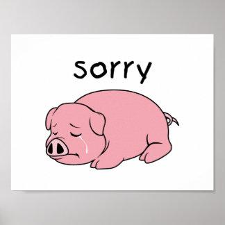 I am Sorry Crying Weeping Pink Pig Card Mug Button Print