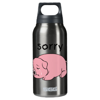 I am Sorry Crying Weeping Pink Pig Card Mug Button 10 Oz Insulated SIGG Thermos Water Bottle