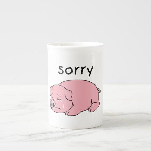 I am Sorry Crying Weeping Pink Pig Card Mug Button Porcelain Mugs