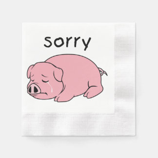 I am Sorry Crying Weeping Pink Pig Card Mug Button Disposable Napkin