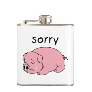 I am Sorry Crying Weeping Pink Pig Card Mug Button Hip Flask