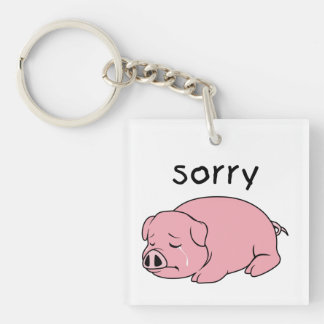 I am Sorry Crying Weeping Pink Pig Hat Mug Cap Double-Sided Square Acrylic Key Ring