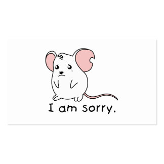I am Sorry Crying Weeping White Mouse Card Stamp Business Card Templates