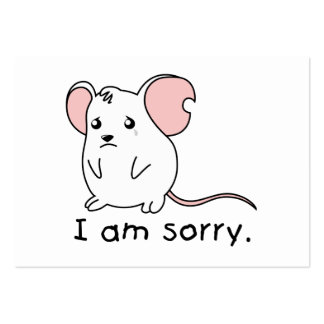I am Sorry Crying Weeping White Mouse Card Stamp Business Cards