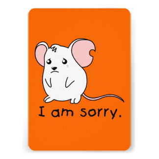 I am Sorry Crying Weeping White Mouse Card Stamp