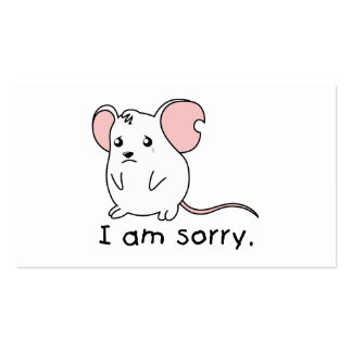 I am Sorry Crying Weeping White Mouse Card Stamp Pack Of Standard Business Cards