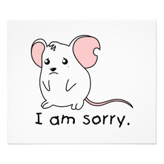 I am Sorry Crying Weeping White Mouse Card Stamp Photographic Print