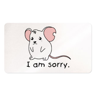 I am Sorry Crying Weeping White Mouse Mug Pillow Business Card Template