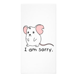 I am Sorry Crying Weeping White Mouse Mug Pillow Picture Card